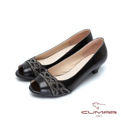 CUMAR-優雅氣質-水鑽低跟魚口鞋-黑
