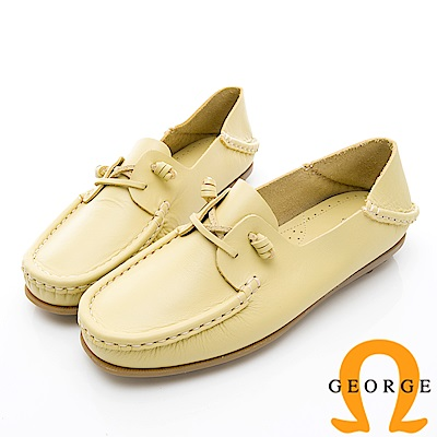 GEORGE 喬治-水洗系列 素面繩結大底休閒鞋 女鞋-黃