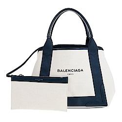 BALENCIAGA NAVY 帆布飾皮革邊手提/肩背包 藍邊米白
