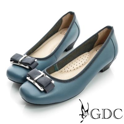GDC都會-金屬飾扣方頭真皮低跟鞋-淺藍色
