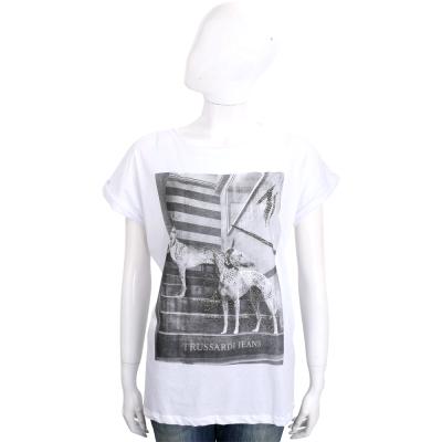 TRUSSARDI 白色貼飾狗圖騰棉質短袖T恤