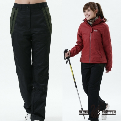 【遊遍天下】女款顯瘦防風防潑水禦寒刷毛長褲/ 防風雪褲 P105黑色