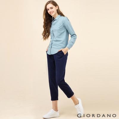 GIORDANO 女裝素色抽繩腰頭反折休閒九分褲-05 牛仔藍色