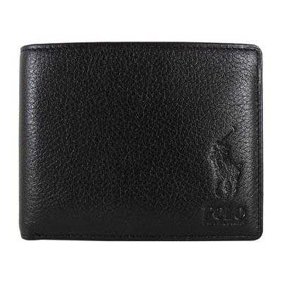 Ralph Lauren 酷炫馬刻紋3卡式短夾(黑)