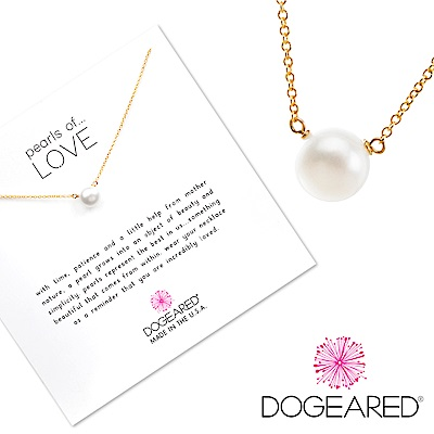 Dogeared 大白珍珠 金色項鍊 Pearl Necklace 附原廠禮盒