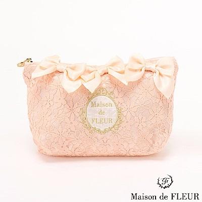 Maison de FLEUR 花朵蕾絲優雅蝴蝶結化妝包