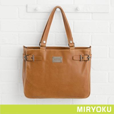 MIRYOKU-經典復古皮革系列-雙夾層簡約肩揹兩用包-駝