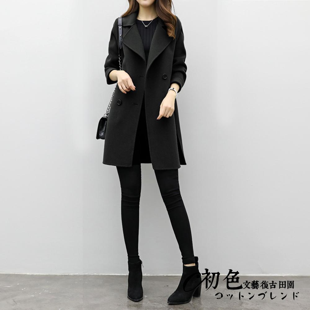 時尚純色雙排扣外套-共3色(M-2XL可選)      初色