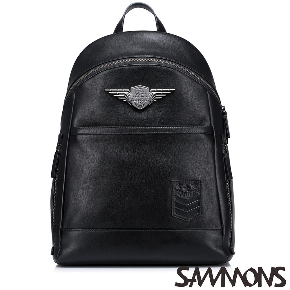SAMMONS 真皮雷德造型徽章後背包 帥氣黑