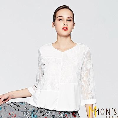 MONS 簡約拼接七分袖上衣