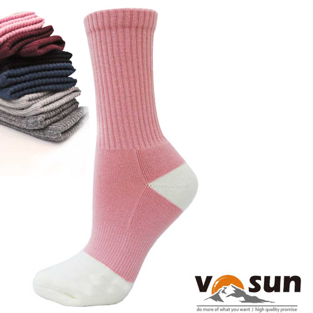 【台灣 VOSUN】 MIT 頂級控溫保暖中筒美麗諾羊毛襪_粉紅