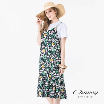 OUWEY歐薇 甜美細帶印花魚尾洋裝(藍)