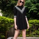 七分袖拼接條紋棉質洋裝 TATA