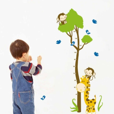 時尚壁貼 - 猴子爬樹身高貼