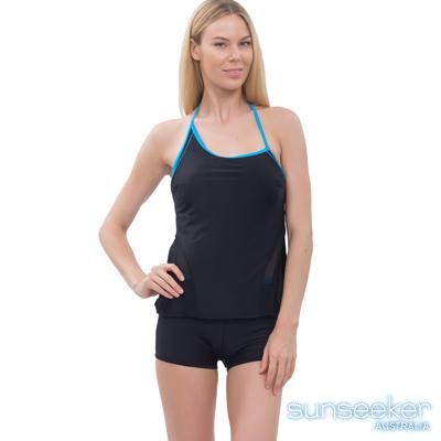 澳洲Sunseeker泳裝不對襯造型運動款兩件式泳衣-黑