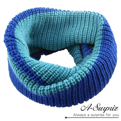 A-Surpriz 時尚大方雙色針織脖圍巾(藍色系)