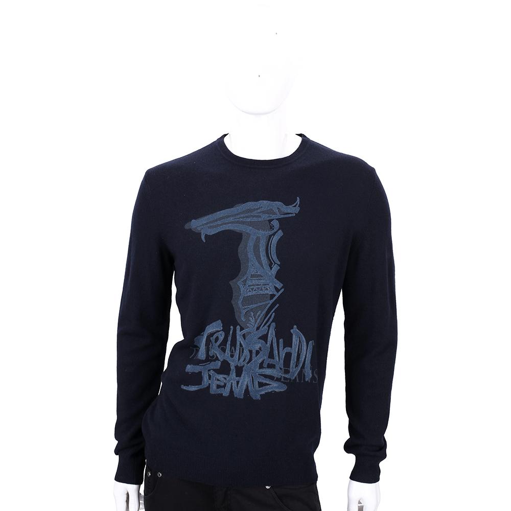 TRUSSARDI 深藍色塗鴉LOGO羊毛長袖上衣(80%WOOL)