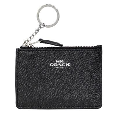 COACH黑色亮粉防刮皮革後卡夾鑰匙零錢包