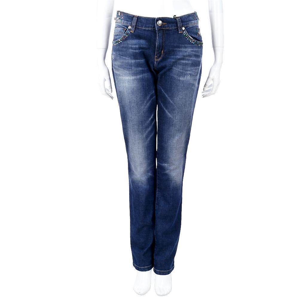 LOVE MOSCHINO 深藍刷色彩鑽飾牛仔褲
