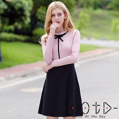 圓領撞色拼接長袖針織洋裝 (粉色)-OOTD