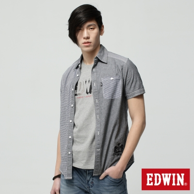EDWIN-襯衫-格紋拼接短袖襯衫-男-黑色