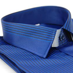 金‧安德森 深藍色壓光黑條紋變化領窄版長袖襯衫