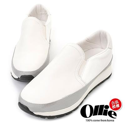 Ollie韓國空運-正韓製仿舊皮革拼接織帶增高鞋-白