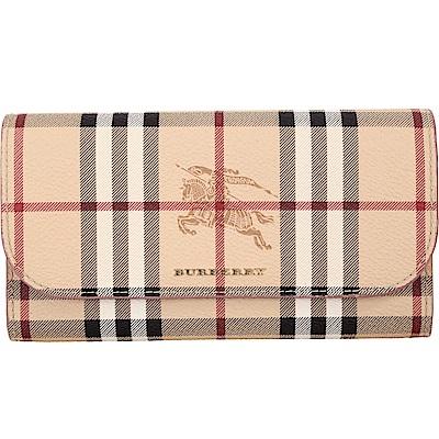 BURBERRY Haymarket 格紋皮革釦式長夾(乾燥玫瑰色)