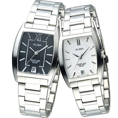 ALBA 桶造型時尚對錶(AG8467X1+AG8465X1)-都會版/35+26mm