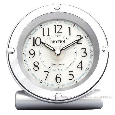 RHYTHM麗聲 鏡面外框掃秒靜音嗶嗶聲鬧鐘(銀)/13cm