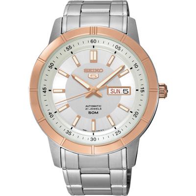 SEIKO 精工5號盾牌日曆機械錶(SNKN56J1)-銀x玫瑰金框/43mm