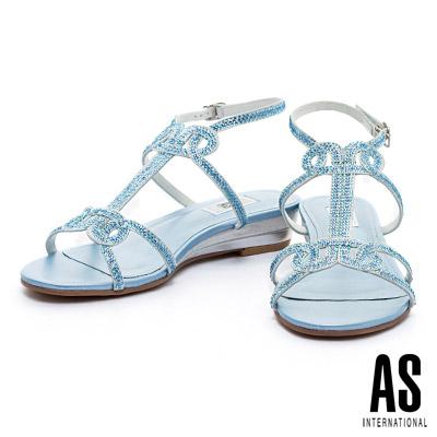 涼鞋-AS-燙鑽羅馬楔型低跟涼鞋-藍