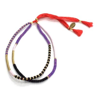 SHASHI 美國品牌 Carlita 尼泊爾風 雙層幸運手鍊 亮紅