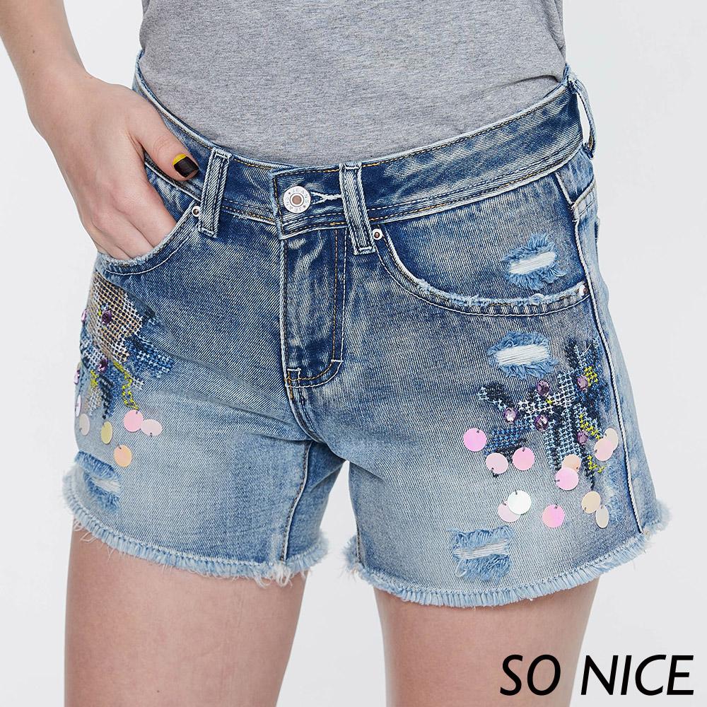 SO NICE個性刺繡牛仔短褲