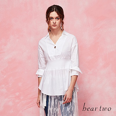beartwo 收腰式V領剪裁襯衫(二色)