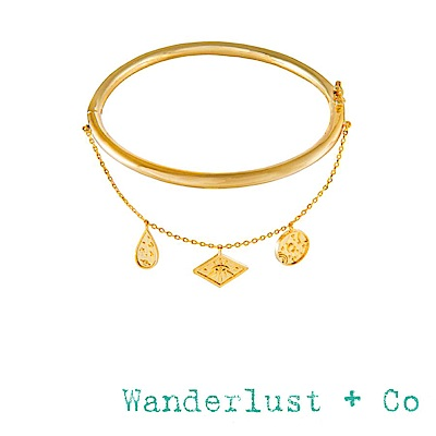 Wanderlust+Co 澳洲品牌 古典銀河星系小墜手環 金色百搭素面手環 GALAXY