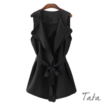 長版素面無袖背心-配腰帶-TATA