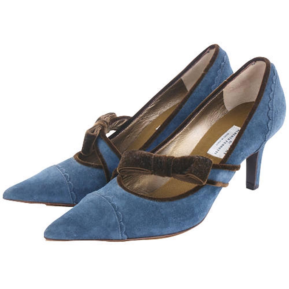PHILOSOPHY 藍色蝴蝶結飾麂皮尖頭跟鞋(展示品)