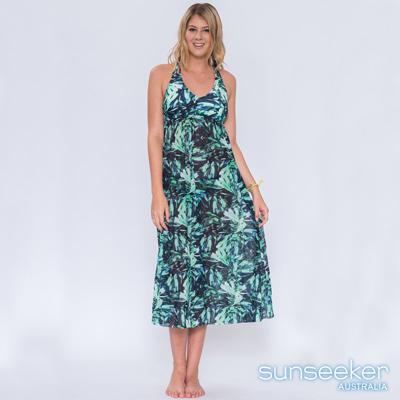 澳洲Sunseeker泳裝叢林女神系沙龍長洋裝罩衫