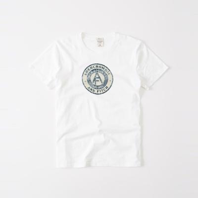 A&F 經典文字印刷設計短袖T恤-白色 AF Abercromb