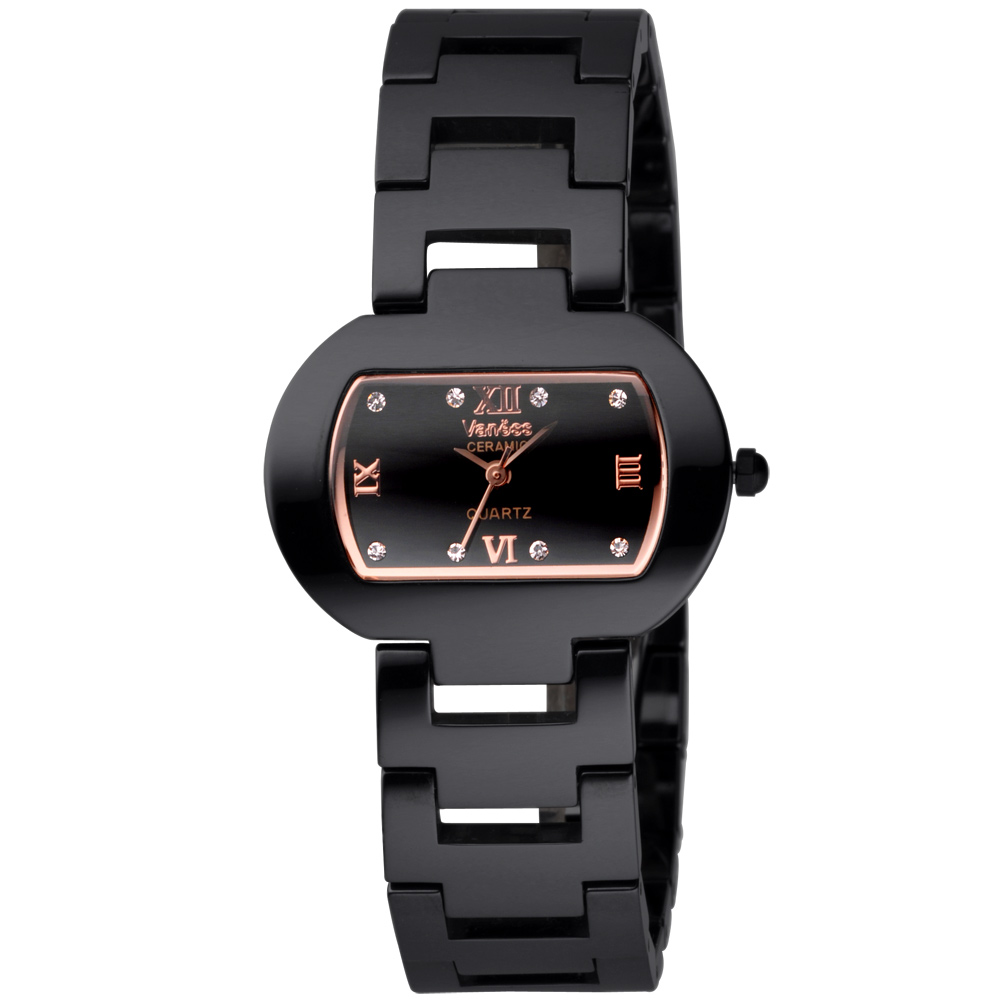 Vaness 經典韻味酒桶陶瓷腕錶-黑x玫瑰金/33mm