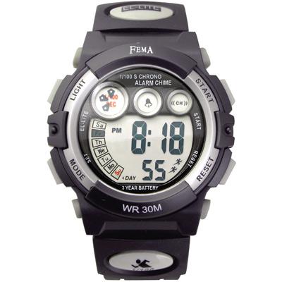 FEMA 百變造型 計時鬧鈴 數位運動錶(P239B)-黑X銀-43mm