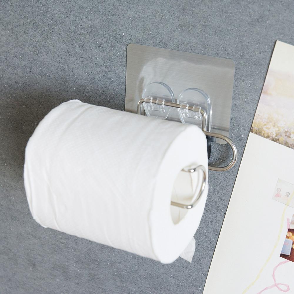Home Feeling 不鏽鋼捲筒衛生紙架/髮絲紋無痕貼-12.5x7.5x3cm