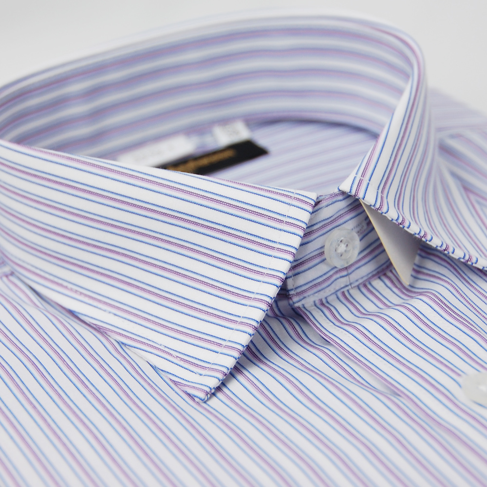金‧安德森  白底藍紫條紋長袖襯衫