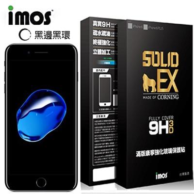 iMOS Apple iPhone 7+ (黑邊)3D曲面滿版玻璃螢幕保護貼+金屬環(黑)