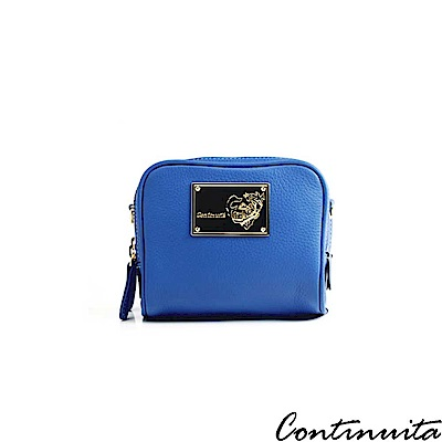 Continuita 康緹尼 頭層牛皮法式馬卡龍雙層化妝包-藍色