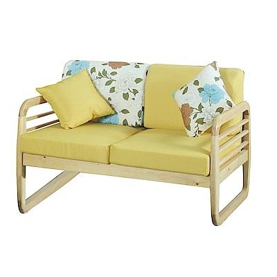 品家居 朵妮雅亞麻布實木沙發雙人座-132x86x86cm免組