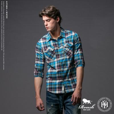 Roush (Slim Fit)雙口袋銀飾貼標法蘭絨格紋襯衫 (3色)