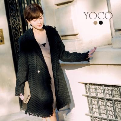 東京著衣-yoco安琪聯名小香編織毛呢珍珠扣長版大衣外套(共二色)