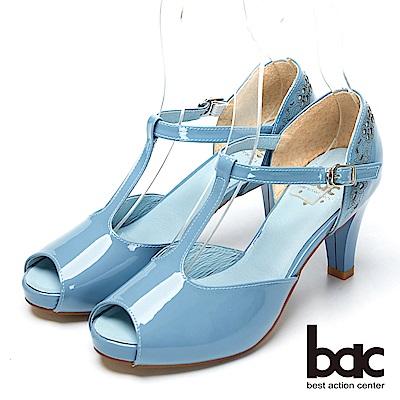 bac窈窕淑女-牛漆皮魚口高跟鞋-淺藍色